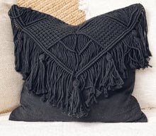 Load image into Gallery viewer, BLACK MACRAME CUSHION COVER 50x50