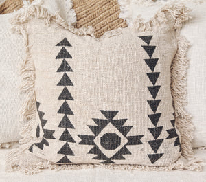 NATURAL RAW COTTON WITH BLACK PATTERN CUSHION COVER 50X50