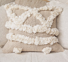 Load image into Gallery viewer, POM POM KNITTED MACRAME CUSHION COVER 50x50