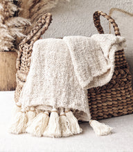 Load image into Gallery viewer, NATURAL RAW COTTON THROW WITH NATURAL TASSELS