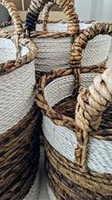 Load image into Gallery viewer, NATURAL AND WHITE WOVEN BANANA LEAF BASKET Large