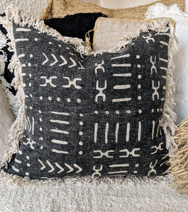 BLACK AZTEC PATTERN RAW COTTON CUSHION COVER