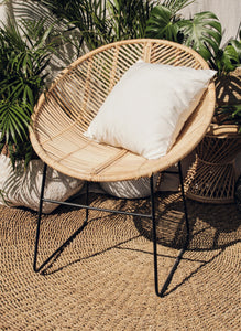 ROUND RATTAN CHAIR WITH CUSHION