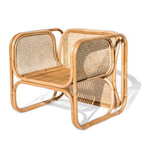 NATURAL CANE AND RATTAN LOUNGE CHAIR