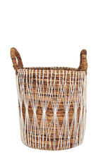 Load image into Gallery viewer, BANANA LEAF AND MACRAME BASKET MEDIUM