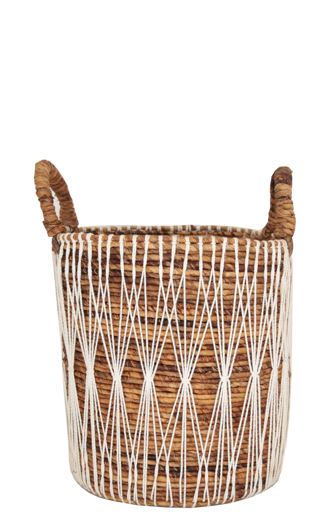 BANANA LEAF AND MACRAME BASKET MEDIUM