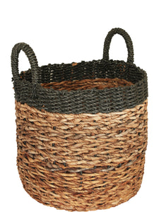 BANANA LEAF BLACK WOVEN RIM BASKET MEDIUM