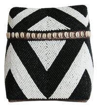 Load image into Gallery viewer, WHITE AND BLACK BEADED BOX WITH SHELLS Large