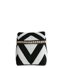 Load image into Gallery viewer, WHITE AND BLACK BEADED BOX WITH SHELLS Small