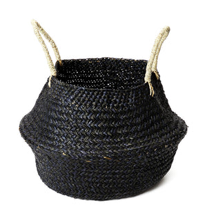 BLACK SEAGRASS WOVEN BASKET MEDIUM