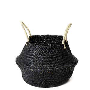 BLACK SEAGRASS WOVEN BASKET SMALL