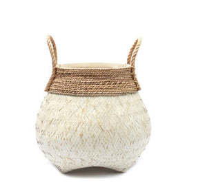WHITE BAMBOO AND BANANA LEAF BASKET