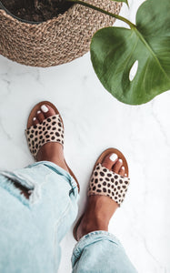M A N O  LEOPARD VEGAN LEATHER SANDALS