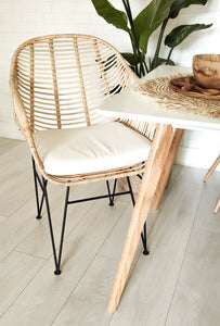 BUCKET SEAT RATTAN CHAIR WITH CUSHION