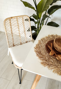 WOVEN RATTAN CHAIR WITH CUSHION