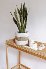 Load image into Gallery viewer, WOVEN RATTAN NATURAL AND WHITE BASKET LARGE