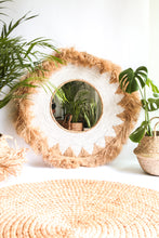 Load image into Gallery viewer, NATURAL RAFFIA WOVEN WHITE MIRROR