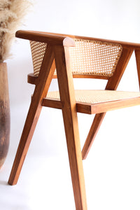 TEAK WOOD AND RATTAN LOUNGE CHAIR