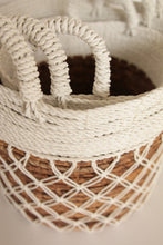 Load image into Gallery viewer, WHITE MACRAME BASKET MEDIUM