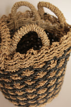 Load image into Gallery viewer, NATURAL AND BLACK BASKET SET OF 2