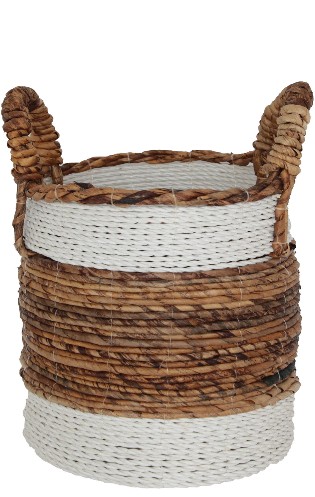 NATURAL AND WHITE WOVEN BANANA LEAF BASKET Large