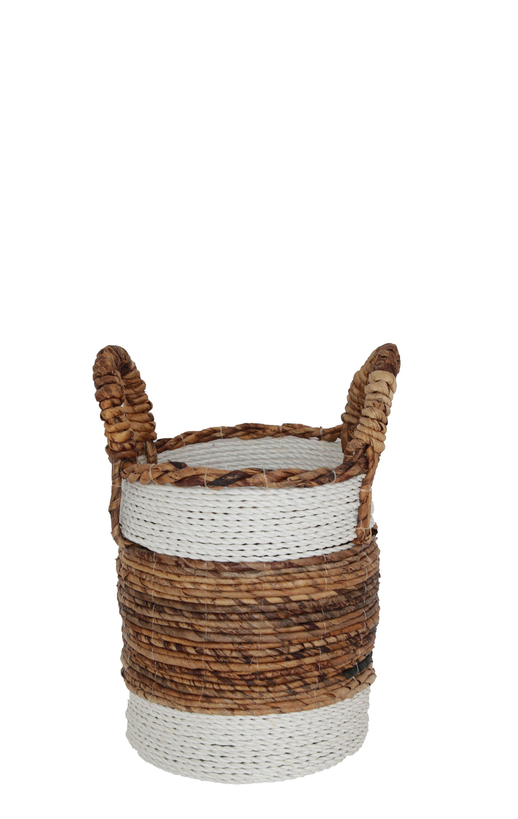 NATURAL AND WHITE WOVEN BANANA LEAF BASKET Small