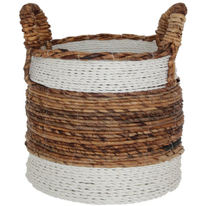 NATURAL AND WHITE WOVEN BANANA LEAF BASKET XLarge