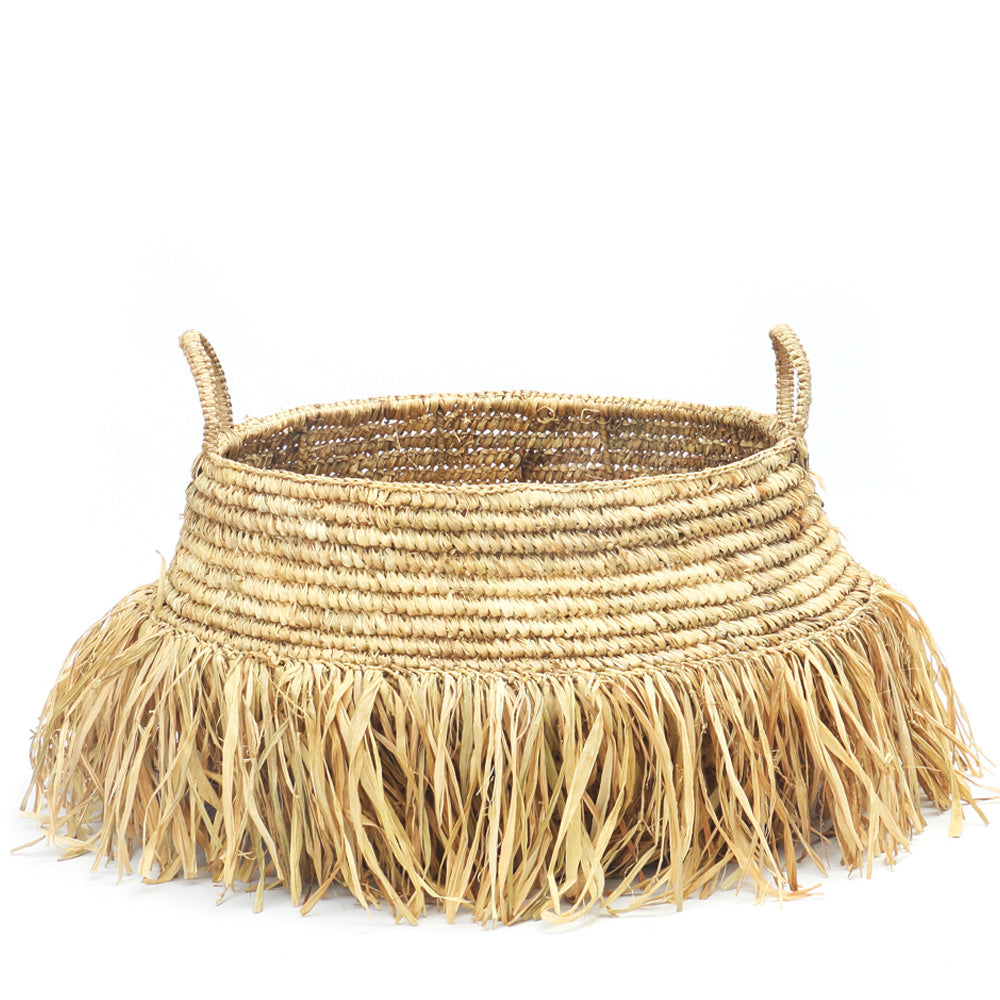NATURAL RAFFIA FRINGE BASKET LARGE