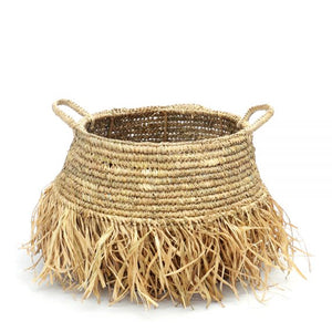 NATURAL RAFFIA FRINGE BASKET MEDIUM