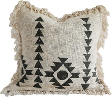 Load image into Gallery viewer, NATURAL RAW COTTON WITH BLACK PATTERN CUSHION COVER 50X50