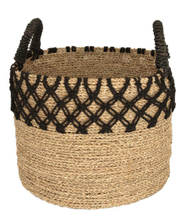 NATURAL WOVEN BLACK MACRAME BASKET MEDIUM
