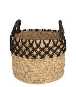 NATURAL WOVEN BLACK MACRAME BASKET SMALL