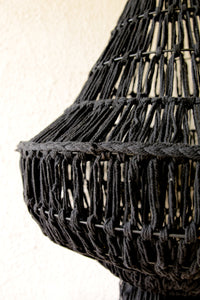 BLACK COTTON MACRAME CEILING LAMP SHADE