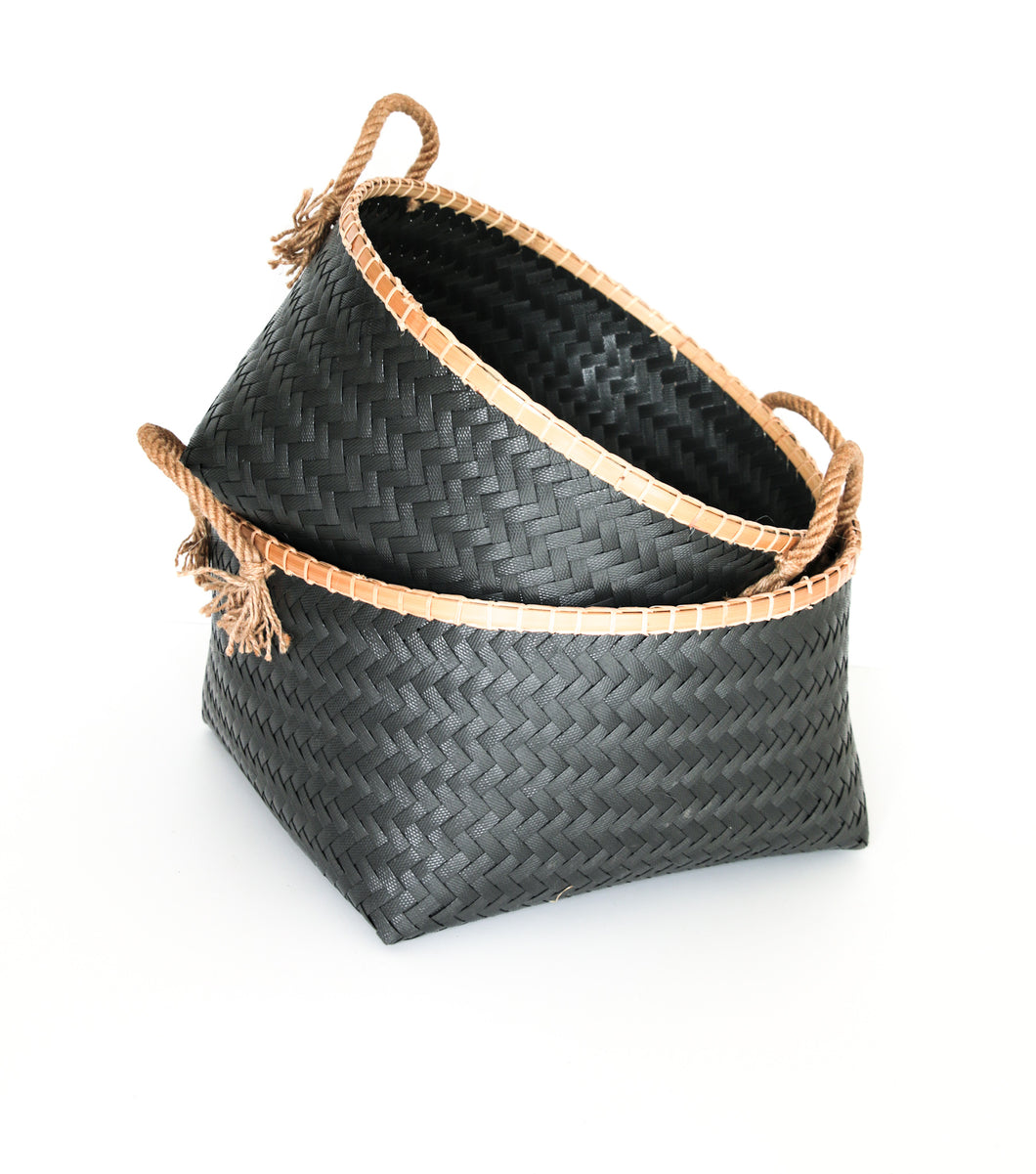 BLACK BAMBOO RIM BASKET SET 2