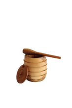 Load image into Gallery viewer, TEAK WOOD HONEY POT WITH HONEY SPOON