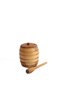 TEAK WOOD HONEY POT WITH HONEY SPOON