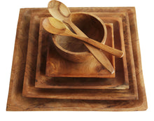Load image into Gallery viewer, TEAK WOOD SQUARE PLATE SMALL