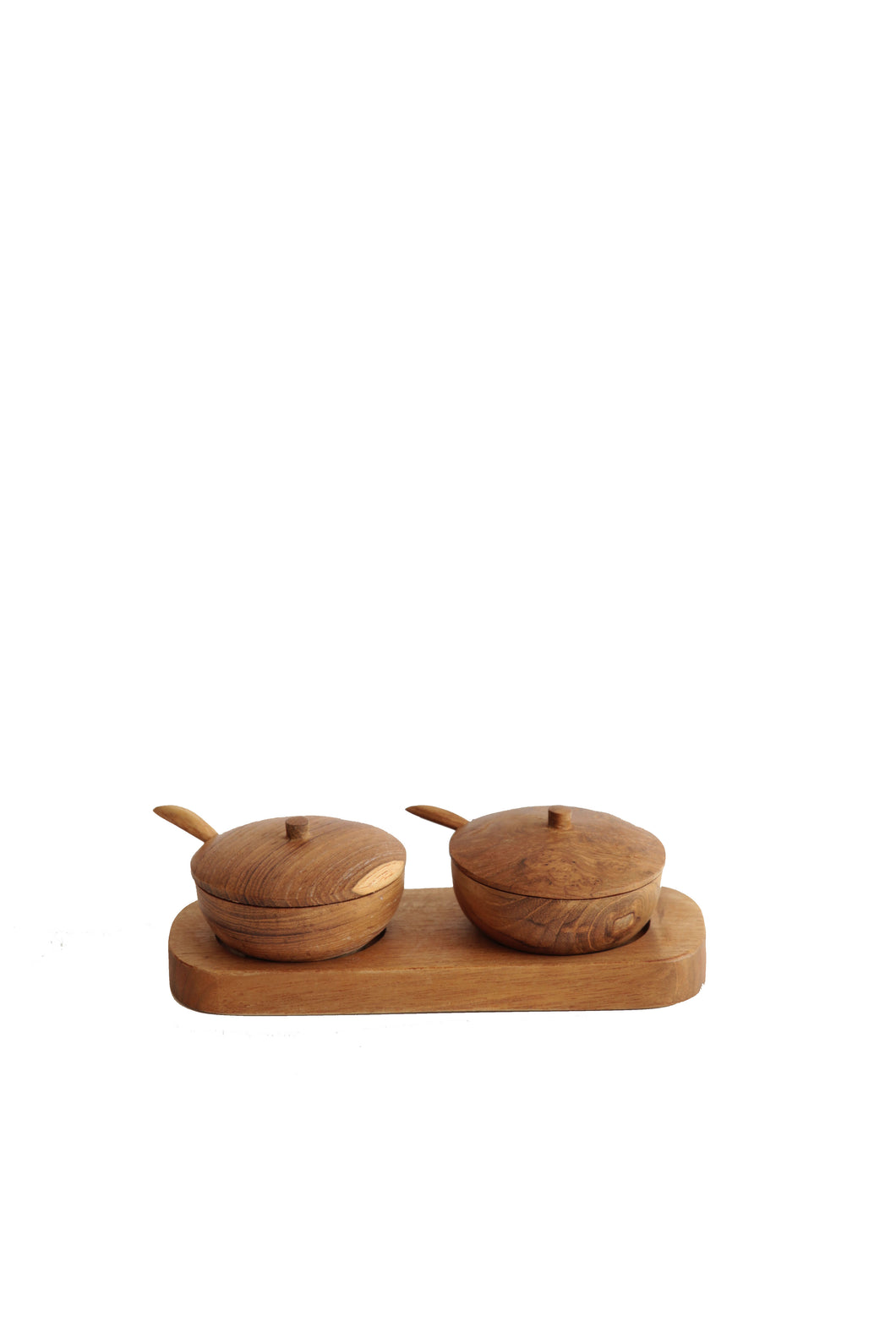 TEAK WOOD SALT AND PEPPER HOLDERS  WITH SPOONS