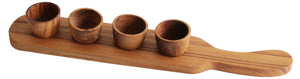 TEAK WOOD SERVING DIP BOARD WITH SMALL BOWLS