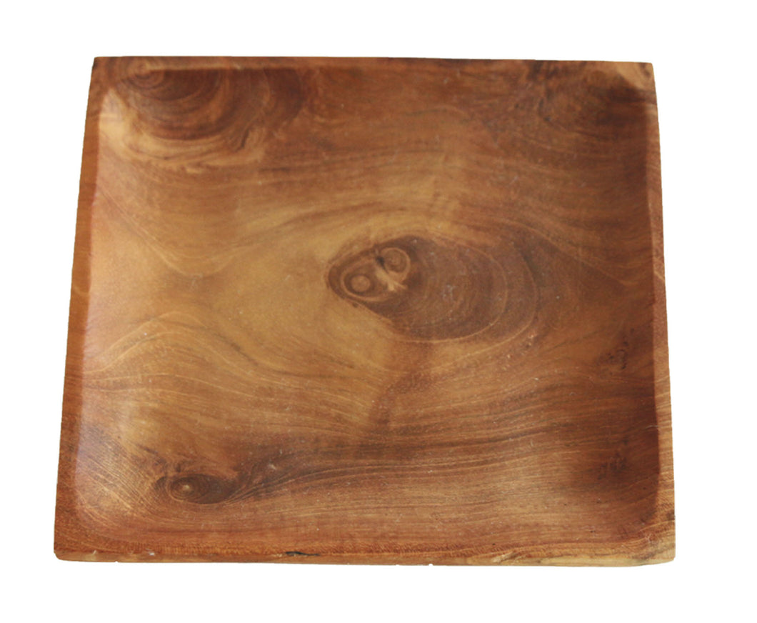 TEAK WOOD SQUARE PLATE LARGE