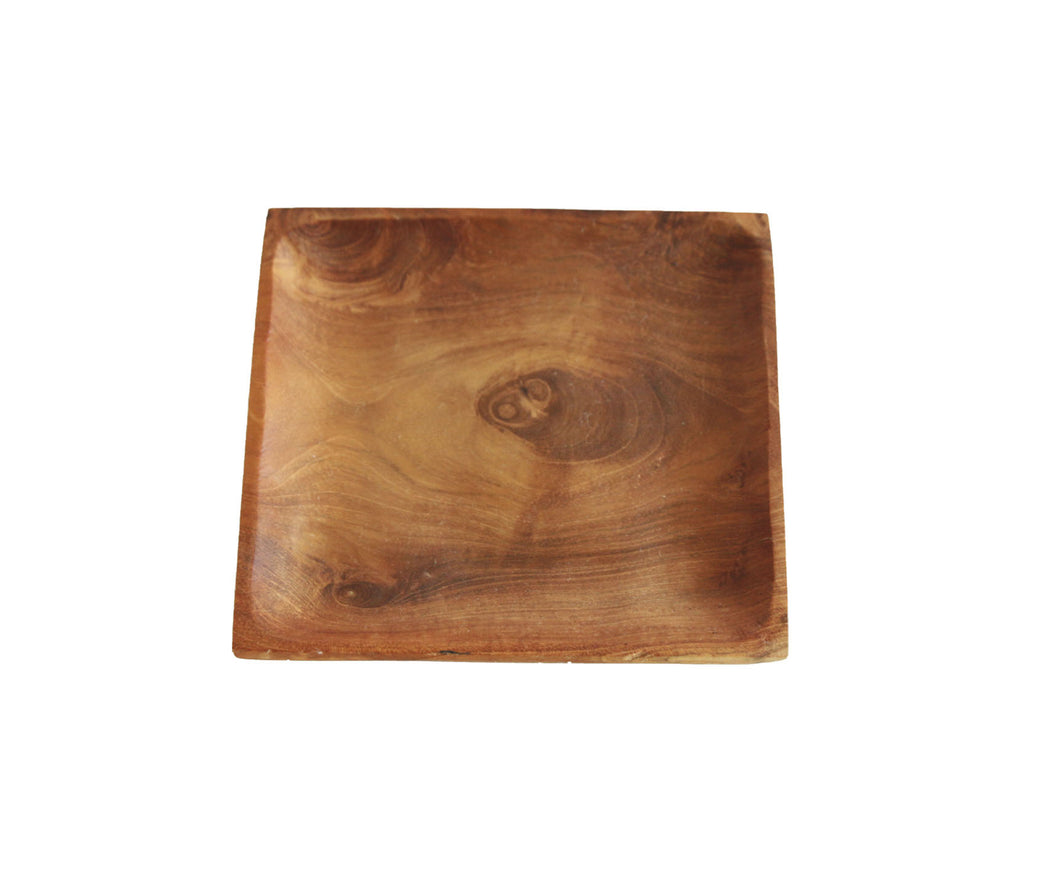 TEAK WOOD SQUARE PLATE SMALL