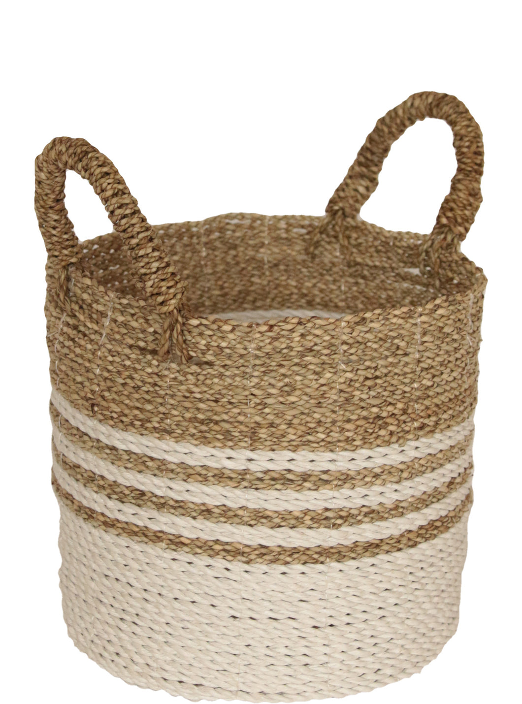 WHITE AND NATURAL WOVEN BASKET MEDIUM