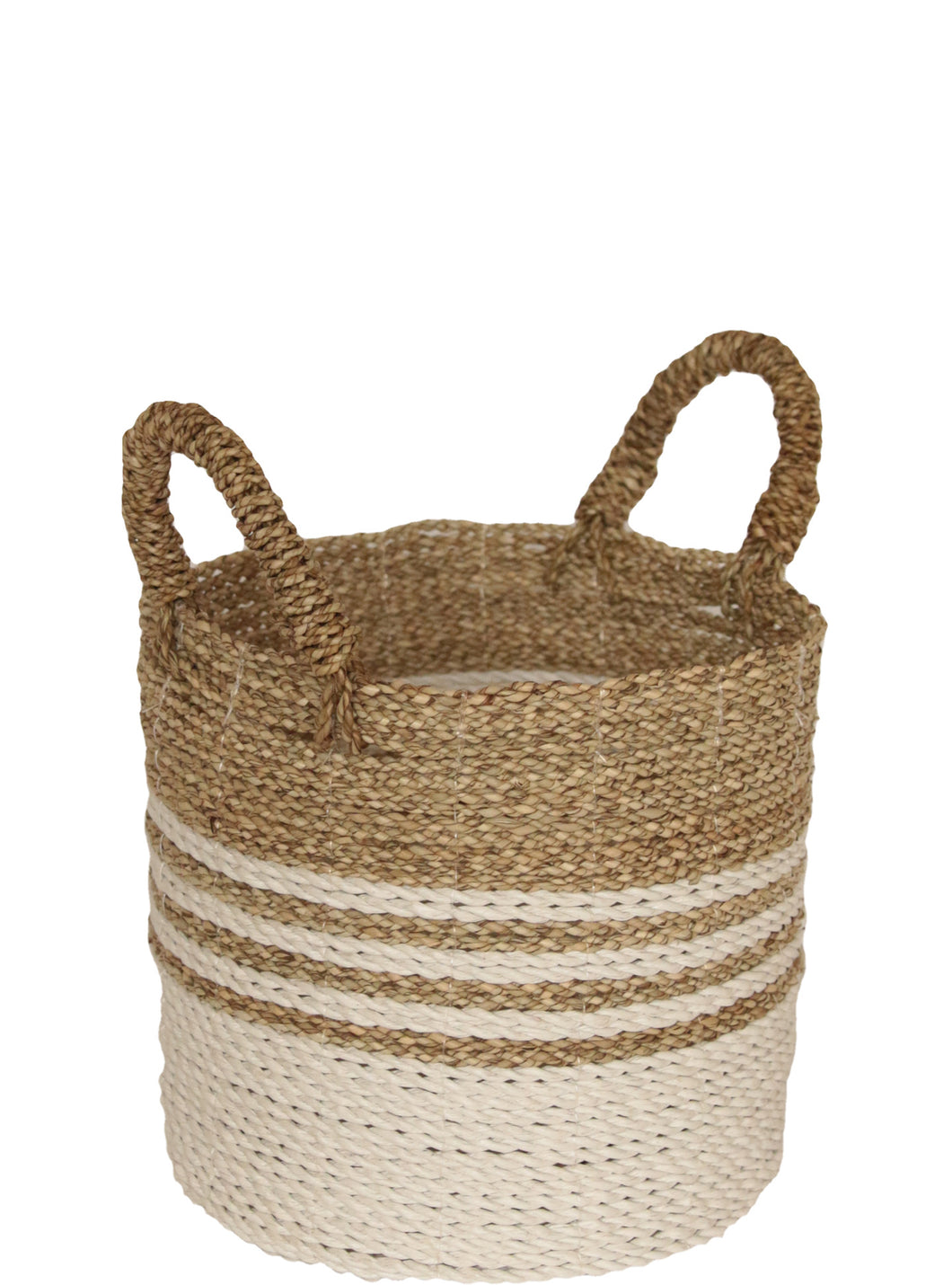 WHITE AND NATURAL WOVEN BASKET SMALL