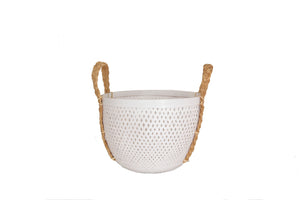 WHITE  BAMBOO BASKET  SMALL