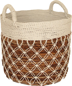 WHITE MACRAME BASKET LARGE