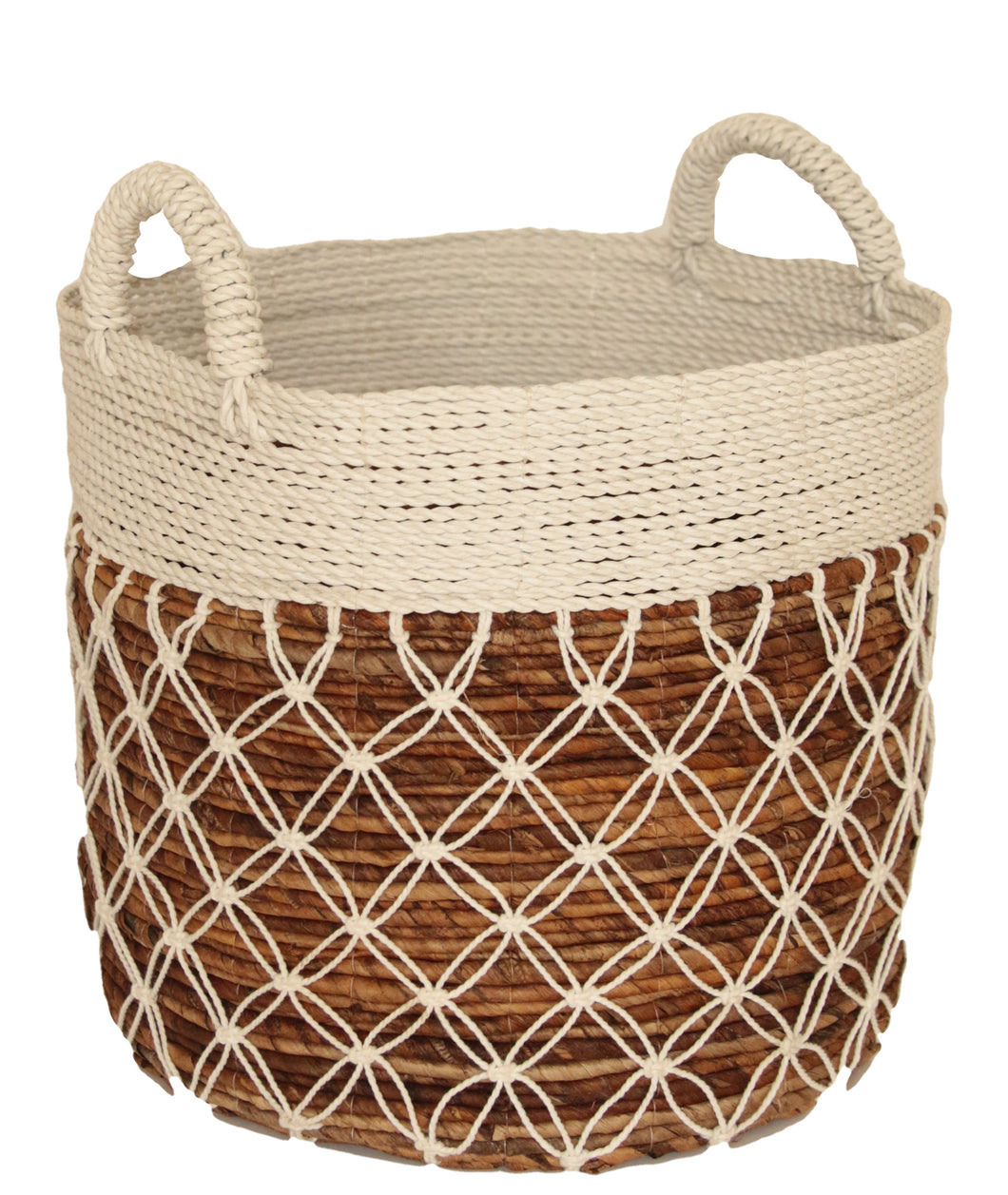 WHITE MACRAME BASKET MEDIUM