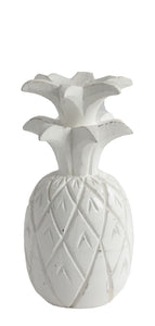 WHITE WOODEN PINEAPPLE DECOR MEDIUM