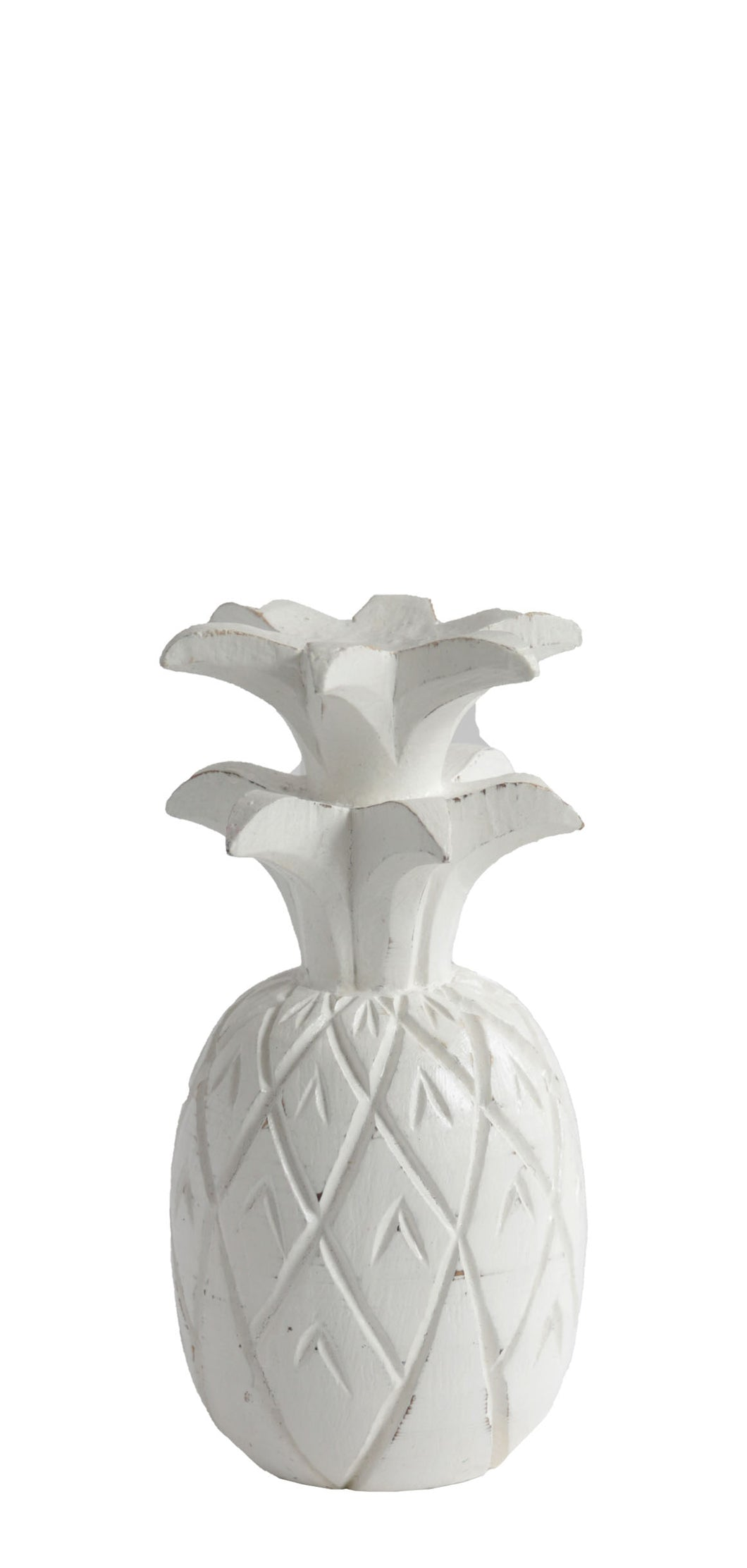 WHITE WOODEN PINEAPPLE DECOR SMALL