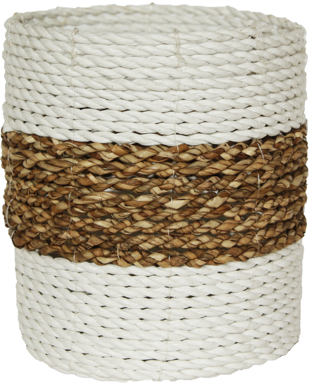 WOVEN RATTAN NATURAL AND WHITE BASKET LARGE