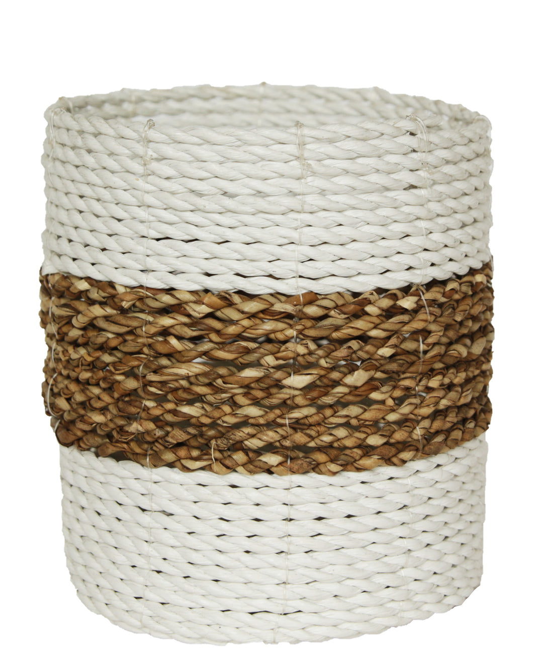 WOVEN RATTAN NATURAL AND WHITE BASKET MEDIUM